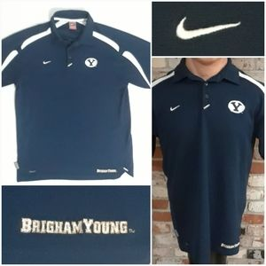 Vtg Nike Brigham Young Embroidered Football Polo